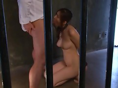 Tied-up Yuna Shiina sucks a cock and gets roughly fucked from behind