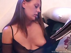 Smoking hot babe Trista Post gets naked and sucks his hard cock