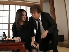 Young widow Aoi Natsumi gets a headfuck with messy facial