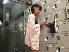 Japanese teen shows her cock-sucking skills in the locker room