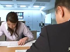 Office lady Hina Akiyoshi on her knees sucking cock and fucking hard