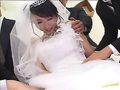 Busty Japanese model gets naekd with three horny guys