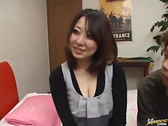 Busty Japanese bitch gives a titjob and rides the stone-hard cock