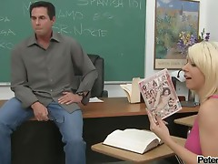 Peter North fucks sexy teacher Tessa Taylor in the classroom