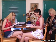 Kristina and Masha please and fuck each other with a dildo at the class