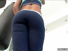 Wet blonde Aubrey is fucking after training in gym