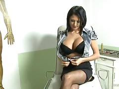 Busty brunette babe get checked by a hard cocked doctor