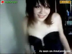 Amateur emo babe shows her tits in her webcam show