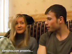 Lovely blond chick Marina gets together with two dudes