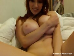 A chubby girl shows her big boobs and plays with a vibrator