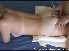 Funny homemade video of a girl playing with her fella's cock
