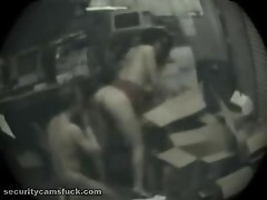 A guy fucks his beautiful boss lady in the store room