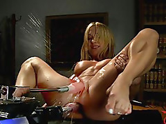 Sexy Busty Blonde Whore Double Penetration Toy Action