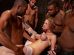 Blonde Hottie Surrounded By Big Black Mean Looking Cocks!