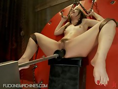 Finest Brunette With Small Tits Fucked By Machines