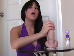 Brunette Girl Chloe Jay Jerking Off a Cock-Shaped Dildo