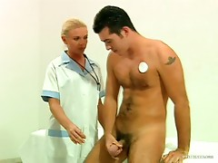 Blonde Nurse Fucks Patient and Doctor in the Hospital