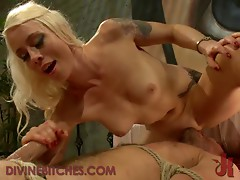 Dude Gets Fucked by a Dominant Blonde with Strapon Before Regular Action
