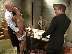 Double Penetrating and Throat Fucking an Ebony in Interracial BDSM Fuck
