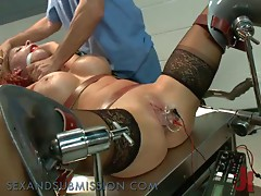 Wild Redhead Gets Studied By two Horny Doctors