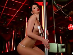 Gorgeous Brunette Masturbates and Does a Dirty Pole Dancing
