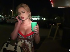 FFM Threesome in the Car with Drunk Blonde and Brunette Babes