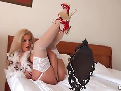 Slutty Euro Blonde Queen Christin Having Outdoors sex in Sexy Lingerie