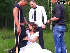Interracial Outdoors Gangbang For Hot Newlywed Bride