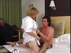 Very Busty Mature Nurse Drains Cum From a Patient's Big Cock