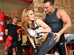 Hot Gym Teacher Works Out Her Pussy In Hot Threesome Video