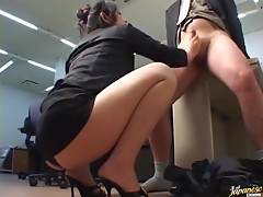 Employee Sucking His Busty Japanese Boss's Feet and Licking Her Pussy