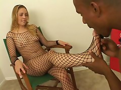 Big black stud loves throat fucking then cumming on white girl feet