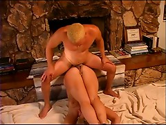 Kinky blonde has rough sex with boyfriend by fireplace