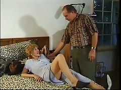 Old dude fucks mature redhead on leopard sheets