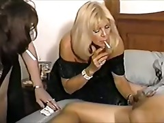 Three Hot Mature Cougars Share Smoking BJ