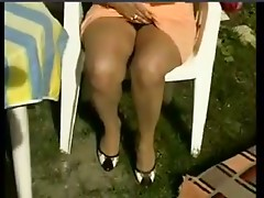 Wet Older Wife Masturbating in the Garden by snahbrandy