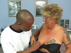 Pierced Nipples Tattoo Granny in Stockings Fucks