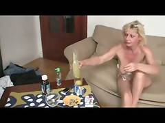 Granny in Stockings Gets Two Cocks