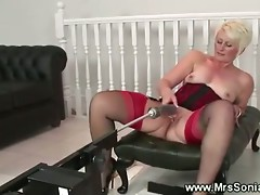 Mature lady inserted by fucking machine