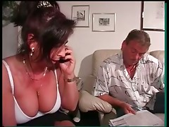 curvy german mom in high cut panty vs 2 cocks