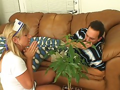 Busty blonde nurse sucks and motorboards dude's cock