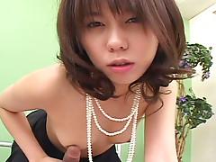 Japanese princess Maho Sawai sucks a hard cock and rides it vigorously