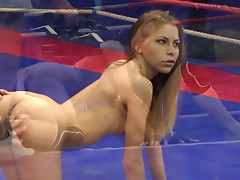 Feisty ring fight with Destiny ends up in a hot lesbian oral sex