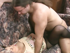 Edeline gets doggy fucked in torn pantyhose