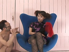Kinky Japanese slut Ami Matsuda gets her tits pleased by mature guy