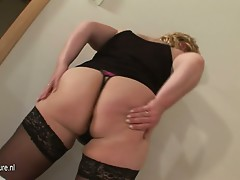 Chubby mature mother getting a mouth full of cum