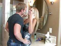 Horny Darcy Tyler gets her succulent boobs sucked by James Huntsman