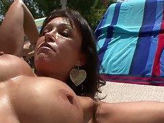 Mark Wood thrusts his dick in Kristina Cross' mouth and pussy right on a sunbed
