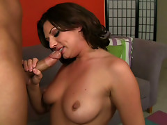 Torrid brunette Ava Rose licks the balls of kinky Christian XXX