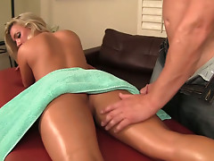 Billy Glide stop massaging the body of Embry Prada and licks her pussy